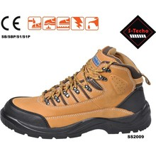 Safety sport shoes with steel toe and nubuck upper