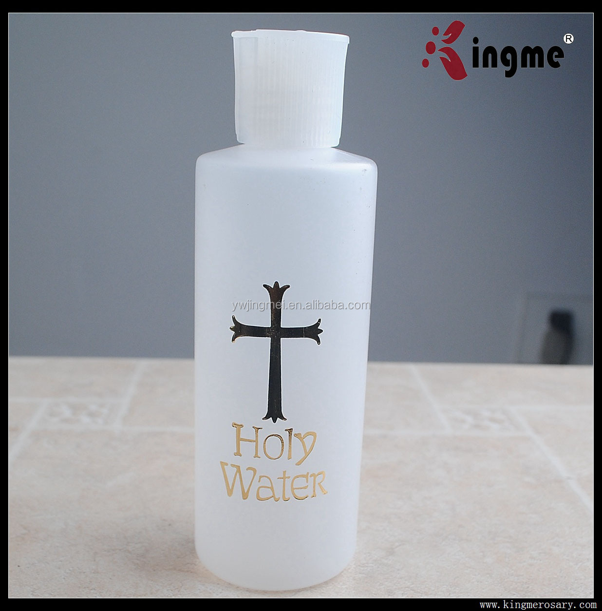 150ML Plastic Holy Water Bottle with Hot Gold Printed with Spout Cap