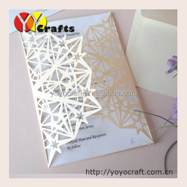 "Laser cut unique paper party decoration ""lucky star"" decorating wedding invitations"