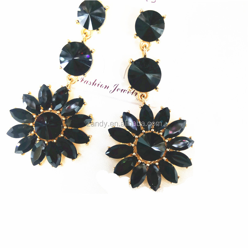 Flowers Look Fashion Glass Crystal Gold Plated Earring For Women