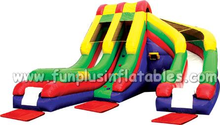 Wavy double lanes commercial grade inflatable water slide from professional inflatable manufacturer F4158