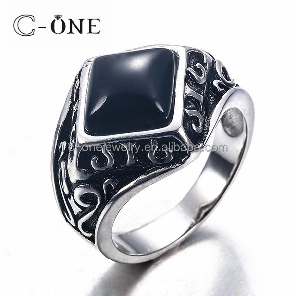 2017 Trendy Black Paint Black Onyx Sterling Silver Men Ring Stamped 925