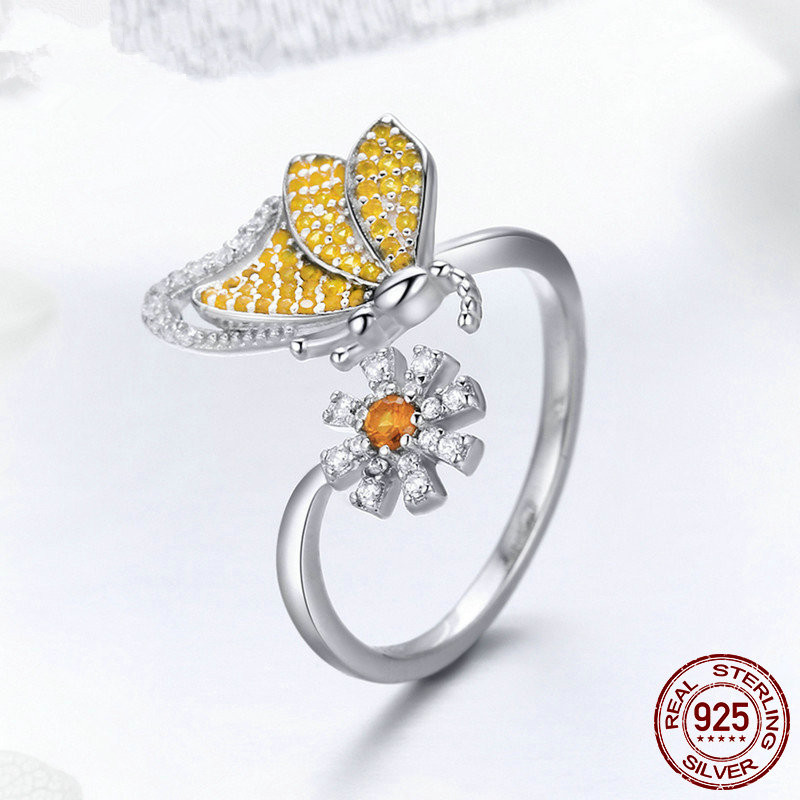 Wholesale India <strong>Jewelry</strong> 18k Wedding Engagement Women Fashion Butterfly & Daisy Flower finger rings