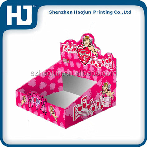 Customized Candy / Cookies Counter Display Stand, Tabletop Paper Counter Display Stand In Shop