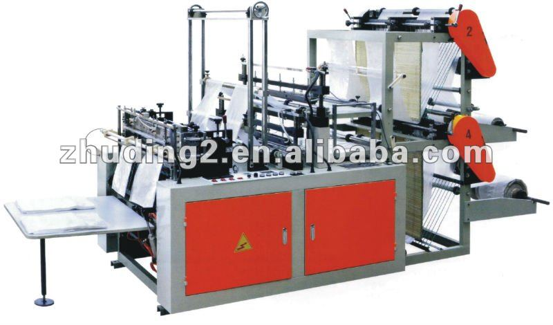 full automatic integral four line bottom-sealed flat/ vest/T-shirt plastic film bag making machine