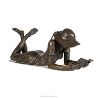 Bronze garden lying reading girl sculpture for sale