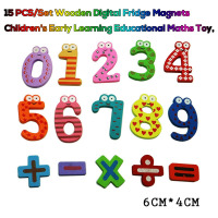 15 PCS/Set Wooden Digital toy Fridge Magnets Children's Early Learning Educational Maths Toy