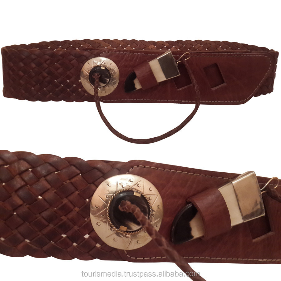 Genuine handmade moroccan braided leather belt for women ref0016