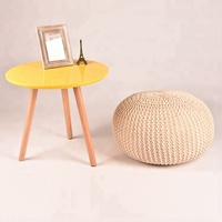 High Quality Modern Household Indoor Round Cotton Knitted Popular Puff Ottoman
