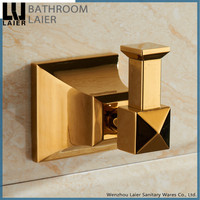 middle east sqaure design zinc gold plated bathroom accessories wall mounted robe hook