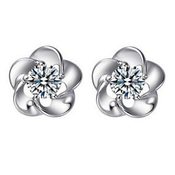Simple Design Blum Blossom Zircon Studs Earring