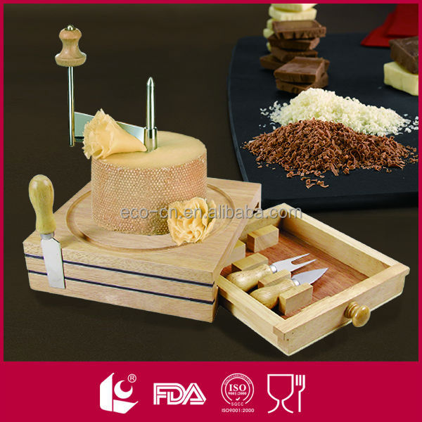 High quality wooden cheese board set with magnetic knives holder