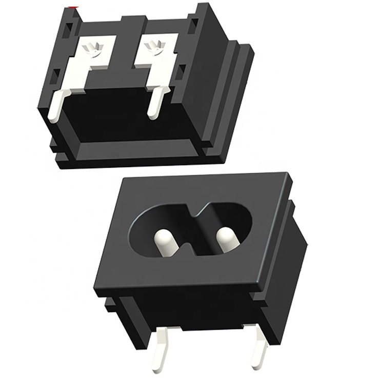 IEC 60320 c8 socket 2 pin inlet terminal for pcb mounting