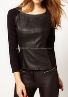 Girls Crewneck Casual Leather Long Sleeve T Shirts Tops