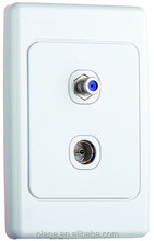 TV / FM VHF F Plug Satellite wall socket Panel mounted outlet white