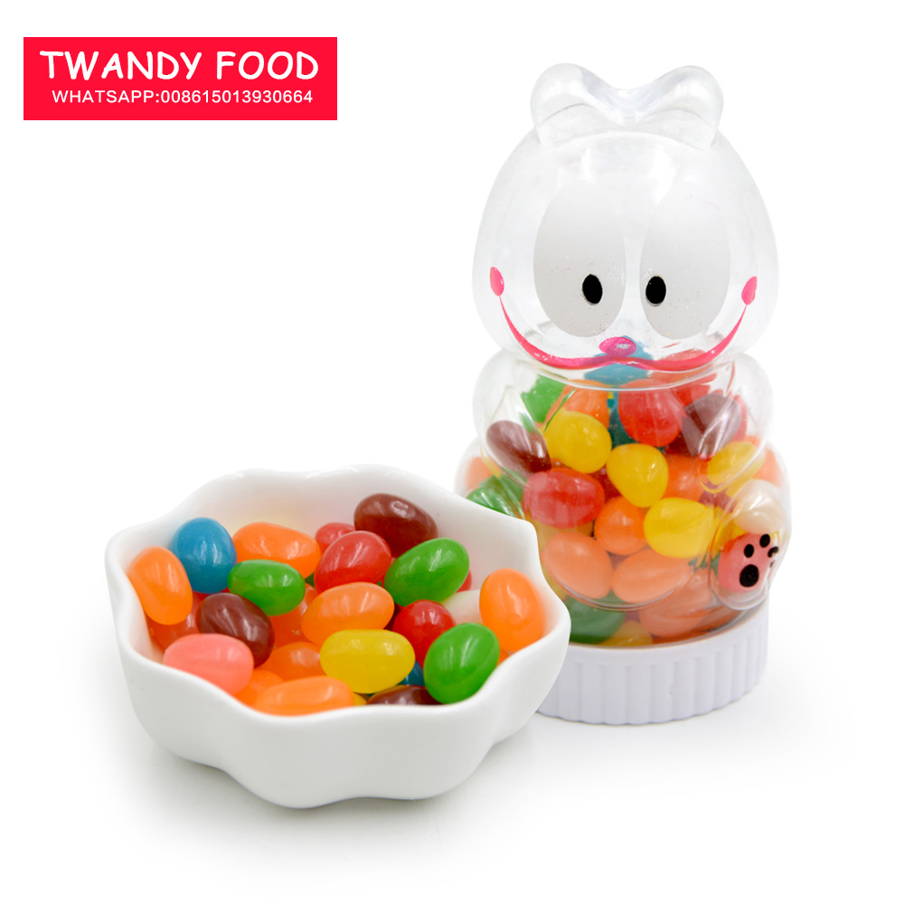 Halal jelly bean gummy soft candies in lovely cartoon jar