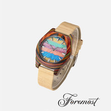 2017 Hot Sale Bamboo Watch Pattern Face Cork Leather Strap Rainbow Wooden Watches