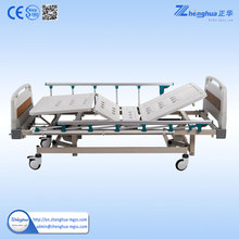 Cheapest Three crank portable manual hospital bed with ABS Bed board hospital bed