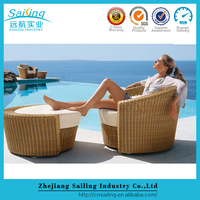 Luxury Rattan Garden Furniture Recliner Sofa Single Sofa Bed With Ottoman