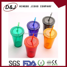 High quality 16oz fruit juice plastic drinking double suction cup, water bottle