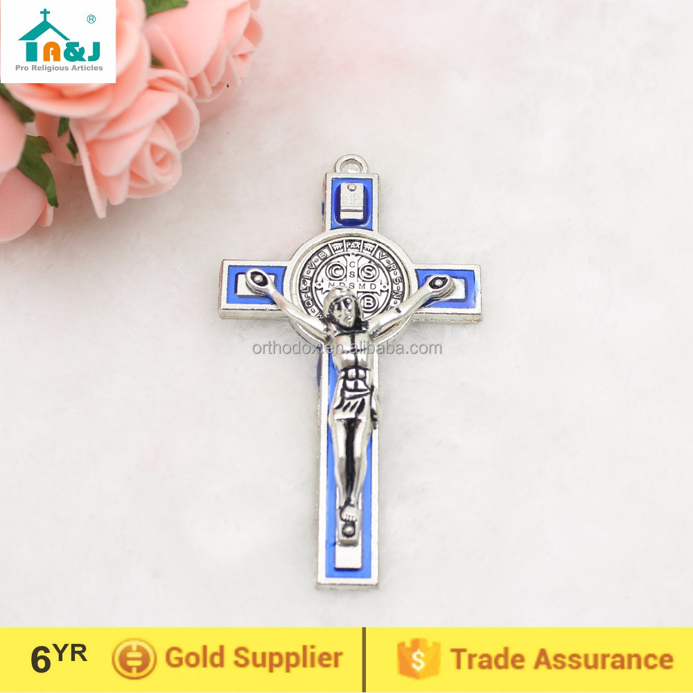 Small metal cross St benedict crucifix