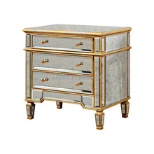 Gold antique mirror accent cabinet for bedroom