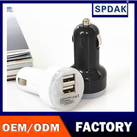 spdak brand Manufacturers 5v2.1a Double Usb Port Car Charger Mobile Phone Car Chargers