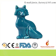 43023 Ceramic Sitting Fox Figurine with Tail Folded Towards Body Gloss Finish