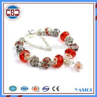 2016 fashion sterling silver jewelry red murano glass bead pandor bracelet