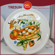 Modern Red Black Ceramic Pizza Plates wholesale for home hotel resturant