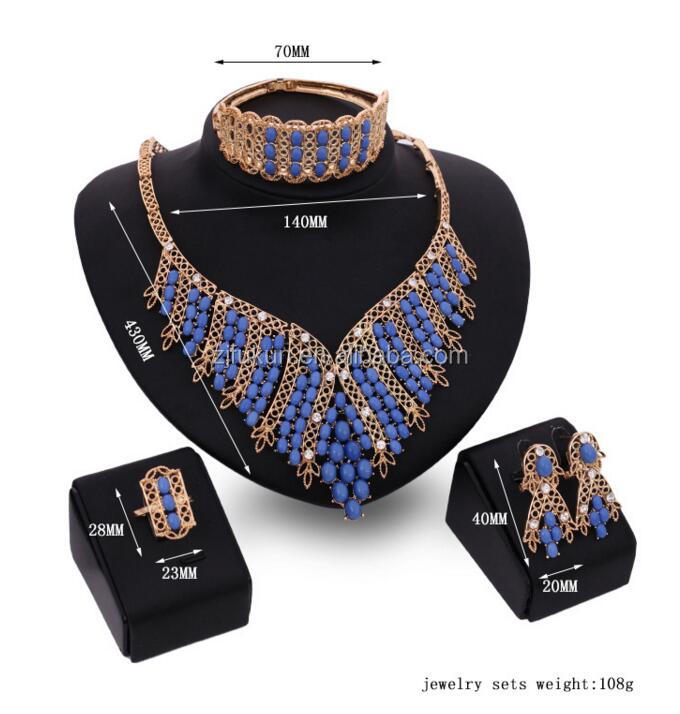 new hot blue agate beads cluster jewelry set for party