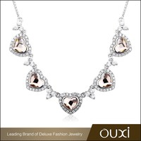 OUXI cheap champagne color triangle crystal famous brand sterling 925 silver necklaceY70065