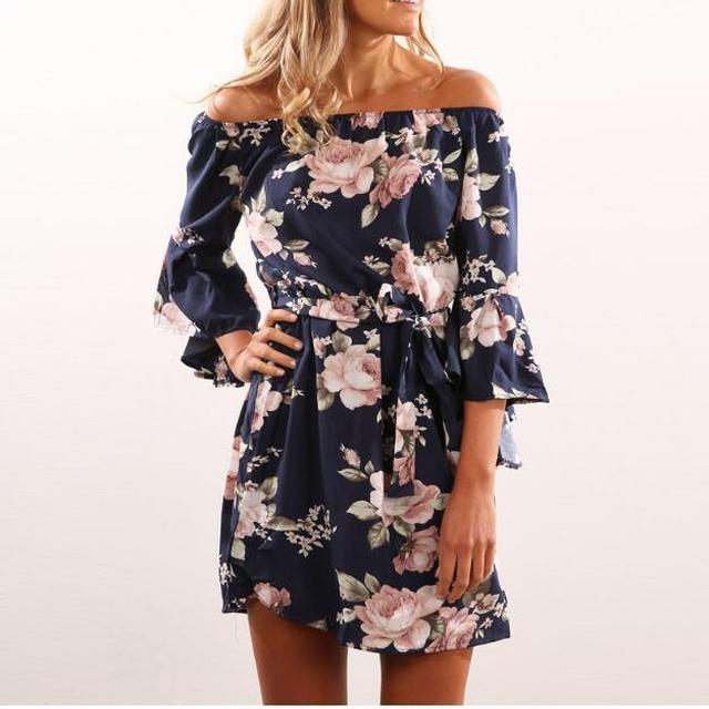 2017 New Style Summer Women clothing belted Dress Off Shoulder Strapless Sexy Dress Slash Neck Mini Dresses Vestido