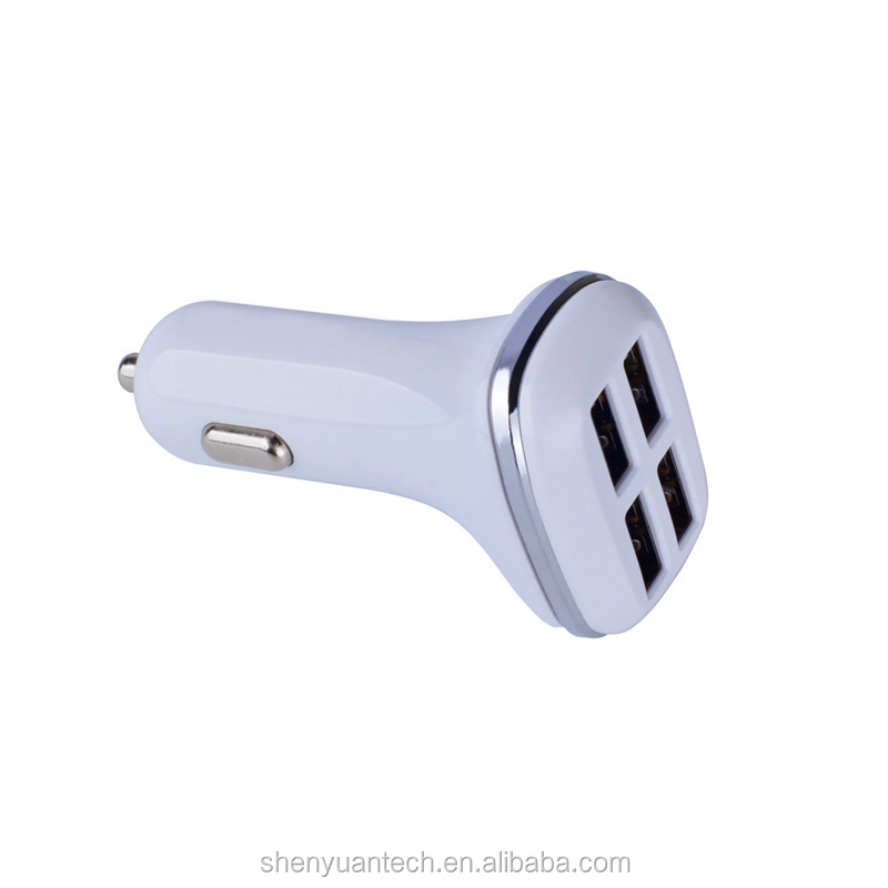 Metal 4-Port Smart Output Voltage DC 5V Car Charger With CE FCC RoHS Certificated Compatible with Phone SE/6S/6S More Devices