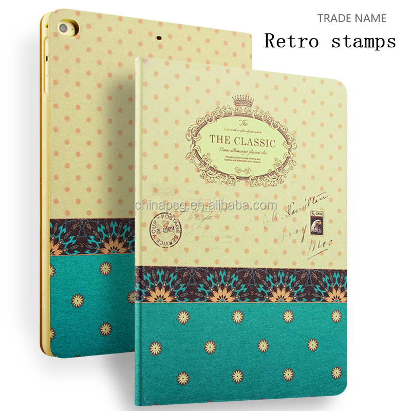Color Printing Folio Stand PU Leather Case for iPad, Smart Flip Cover Case for iPad2 3 4 (Retro Stamp)