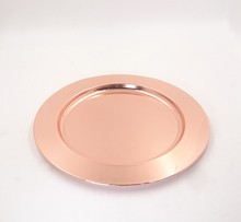Wholesale rose gold silver Decor0ative Stainless Steel Hotel Charger Plate Serving Tray for Wedding