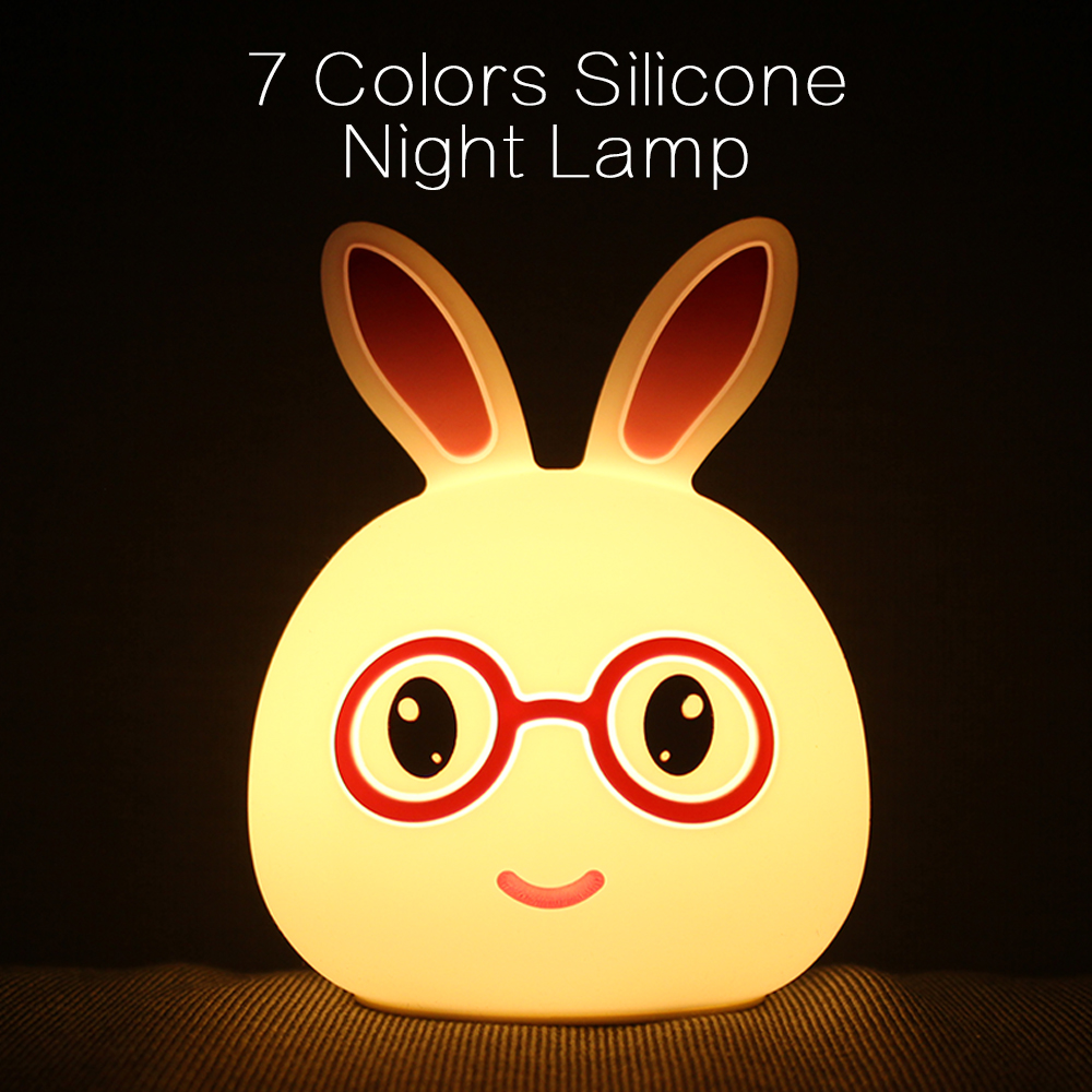 Portable Silicone LED Rabbit Night Light USB Charging Table Lamp