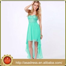 BD91 Wholesale Cocktail Dresses Lace and Chiffon Strapless Emerald Green Short Front Long Back Wedding Dresses for Bridesmaid