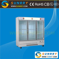 Commercial glass door supermarket used display refrigerator for fruits and vegetables