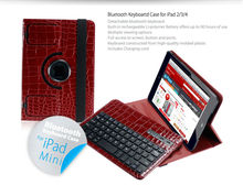 Wireless detachable leather Bluetooth Keyboard For ipad mini