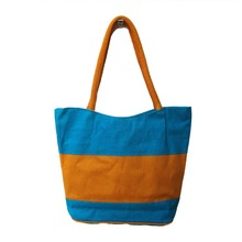 Eco friendly cotton shopping tote BAG with leather handle