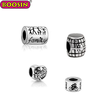 Wholesale silver custom metal logo beads charm for bracelets
