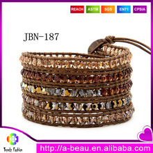 Wholesale Europe and American Popular Multicolored Crystal Beads 5X Wrapped Handmade Bracelet On Natural Brown Leather