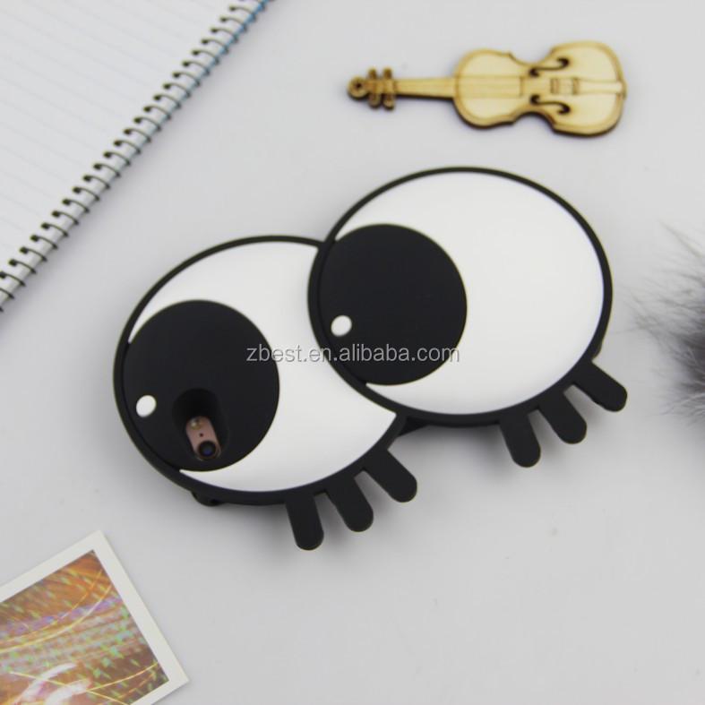 Big Eye Lashes 3D Rubber GEL Silicone Cell Phone Cases For iPhone 8 8plus Cell Pphone Accessory