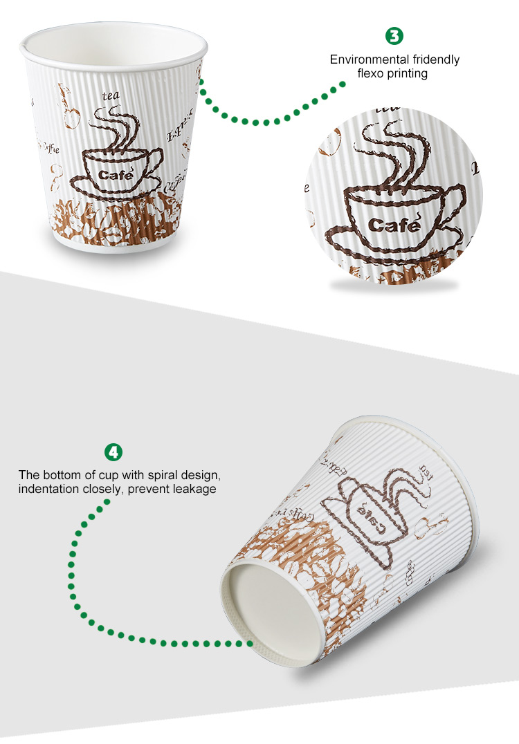 corrugated paper cup/Disposable food grade coffee cup/OEM ripple wall paper cup