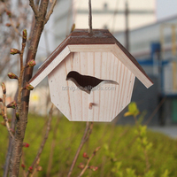 FSC wood small decorative wood bird house by handwork