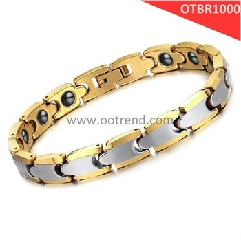 IP Plated Golden Tungsten Carbide Bracelets with Energy Magnetic Stone