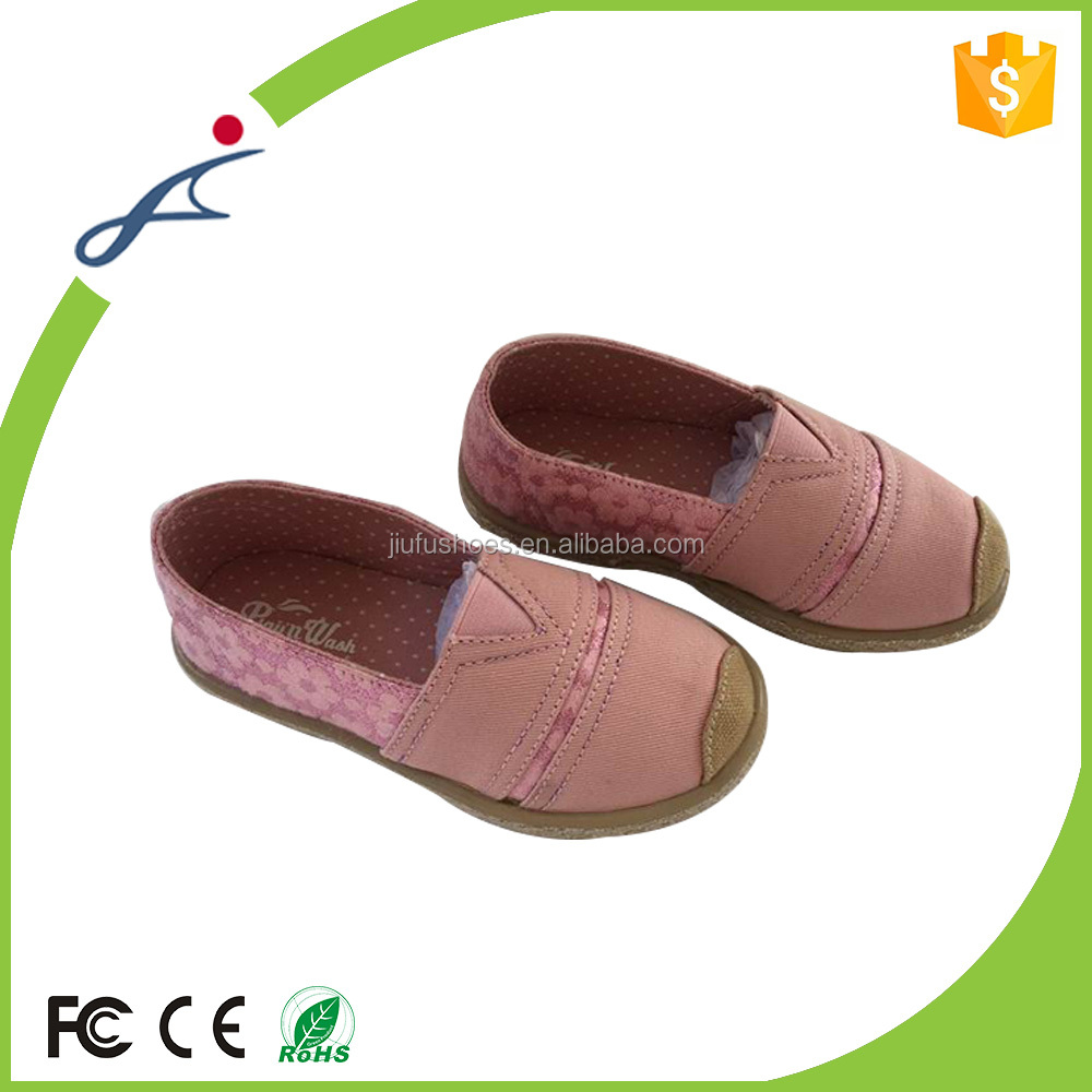 Cotton fabric factory price directly Safety spring autumn white canvas shoes for girls
