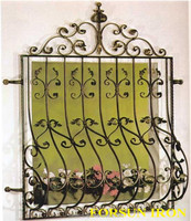 House window safety grill wrought iron design