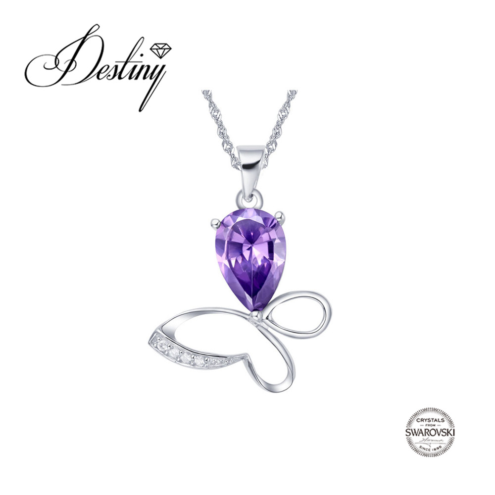 Destiny Jewellery Factory direct sale wholesale Purple crystal pendant Embellished with crystals from Swarovski